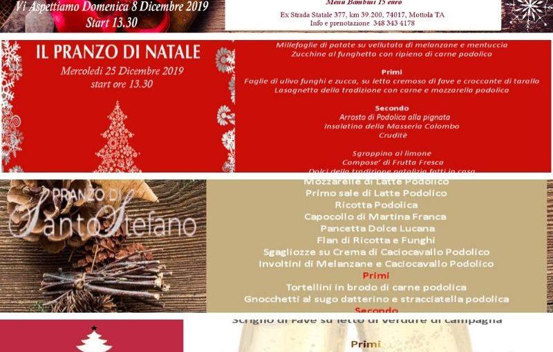 Menu Delle Feste Di Natale.Menu Delle Feste 2019 Masseria Colombo